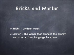 Brick words and mortar words