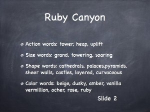 Word Categories for describing Ruby Canyon